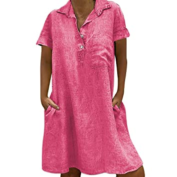 4Clovers Plus Size Womens Summer Short Sleeve Linen Tshirt Dresses Casual Loose Button Front Beach Party Tunic Top