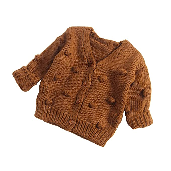 8c5263a53 Amazon.com  Dragon Honor Baby Girl Cardigan Pompom Buttons Knit V ...