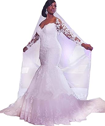 58a1577ef04 Ruisha Women s Sexy V Neck Long Sleeves Bridal Gowns Lace up Mermaid  Wedding Dresses for Bride