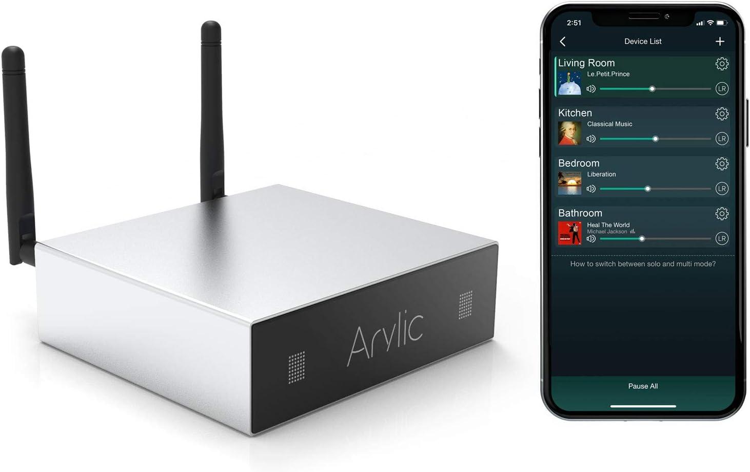 Amplificador WiFi & Bluetooth STA326 con 50+50W, 24V DC/2.0 Canal estéreo, Airplay DLNA, Sincronización Multiroom, 24bit 192 kHz Audio Streaming Integrado Amplificador para altavoces de casa A50