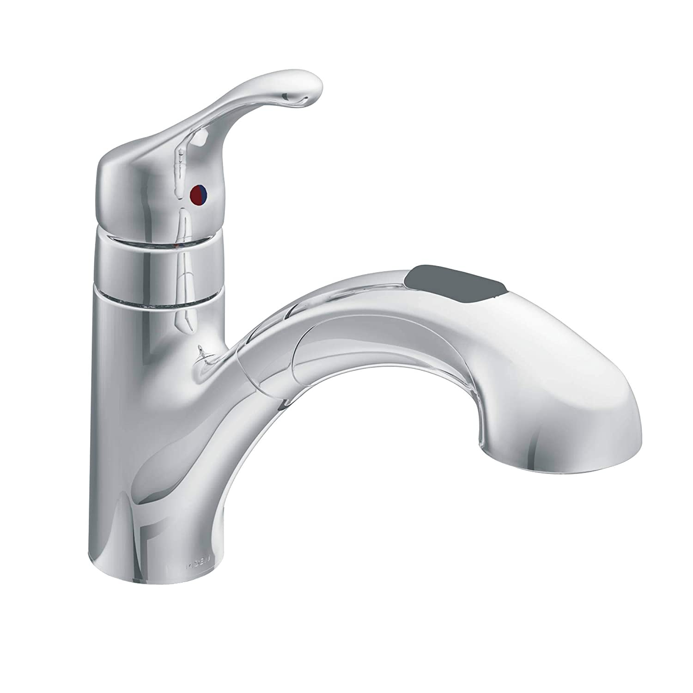 Moen CA87316C Chrome Renzo One Handle Low Arc Pullout Kitchen Faucet