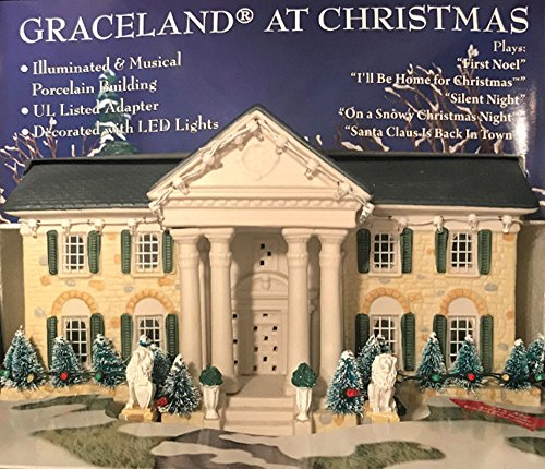 Graceland Elvis Presley at Christmas LED Illuminated & Musical Porcelain Buil.