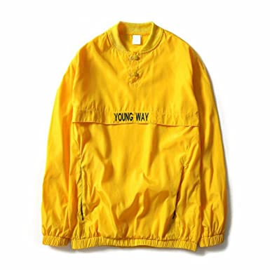 New reflective windbreaker Bomber Jacket Men Autumn Tide Brand off white Jacket chaqueta hombre NJK29 Yellow