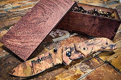 Camo Hunting Knife Rustic Wooden Gift Box - Pocket Knives Groomsmen Boyfriend Gift Set, Camouflage Groomsman or Husband Wedding Gifts, Sharp Folding Blade w/ Clip, M-Tech Camo 104