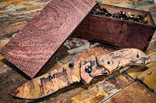 Mtech Camo (Camo Hunting Knife Rustic Wooden Gift Box - Pocket Knives Groomsmen Boyfriend Gift Set, Camouflage Groomsman or Husband Wedding Gifts, Sharp Folding Blade w/ Clip, M-Tech Camo 104)