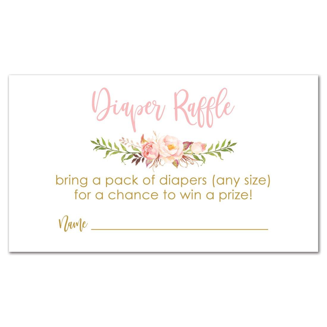 InvitationHouse 48 cnt Pink Flowers Baby Shower Diaper Raffles