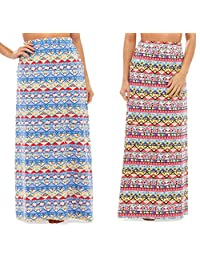 Ladies 2 Pack of Blue and Coral Aztec Design Summer or Winter Sun Holiday Maxi Skirts