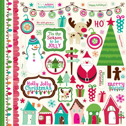 Echo Park - Holly Jolly Christmas Scrapbooking Collection Kit - Item #:HJ20016TM - Copyright 2011