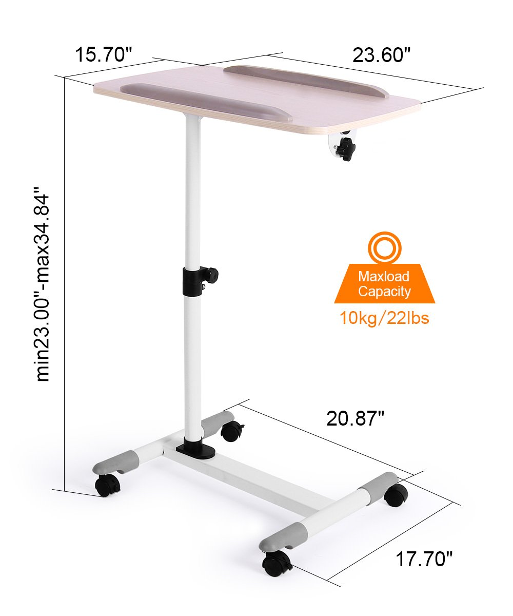ProHT Universal Mobile Projector Laptop Stand Trolley (05485A),Sit-Stand Laptop Desk Cart,Adjustable Projector Stand/Rolling Computer Stand/Presentation Cart Rotated 360° and Tilted up to 35° .White by ProHT (Image #2)