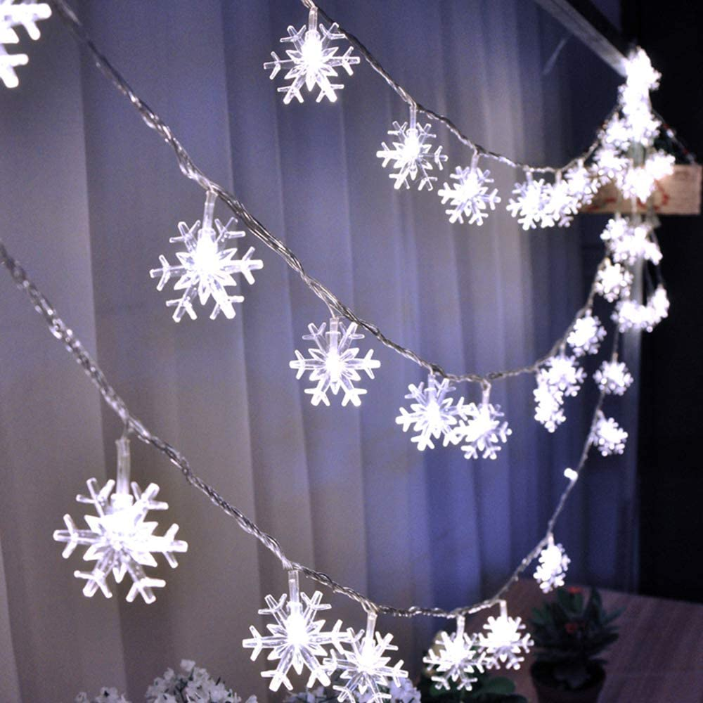 Christmas Lights, HuTools Snowflake Led Lights 16.5ft 50 LED Battery-Operated Fairy String Lights Snowflake Decorations for Home, Church, Wedding, Birthday Party
