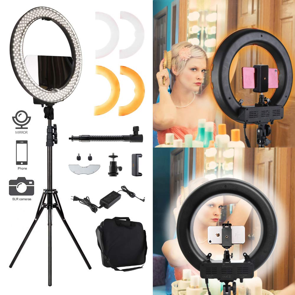Lusweimi 18'' 55W 2700-5500K LED Round Ring Light Kit Adjustable Colored With Stand Mirror, Warm/White Color Temperature Camera Mirror YouTube Video Makeup Lighting Circle selfie IphoneX/XR/XRMAX by Lusweimi