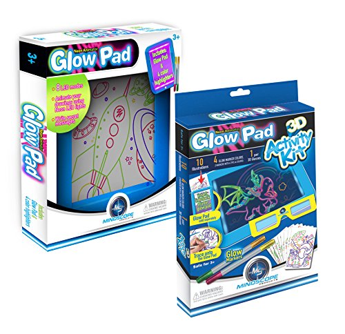 Mindscope Light Up LED GLOW PAD Writing Pad BLUE with 3D Activity Kit Bundle Pack