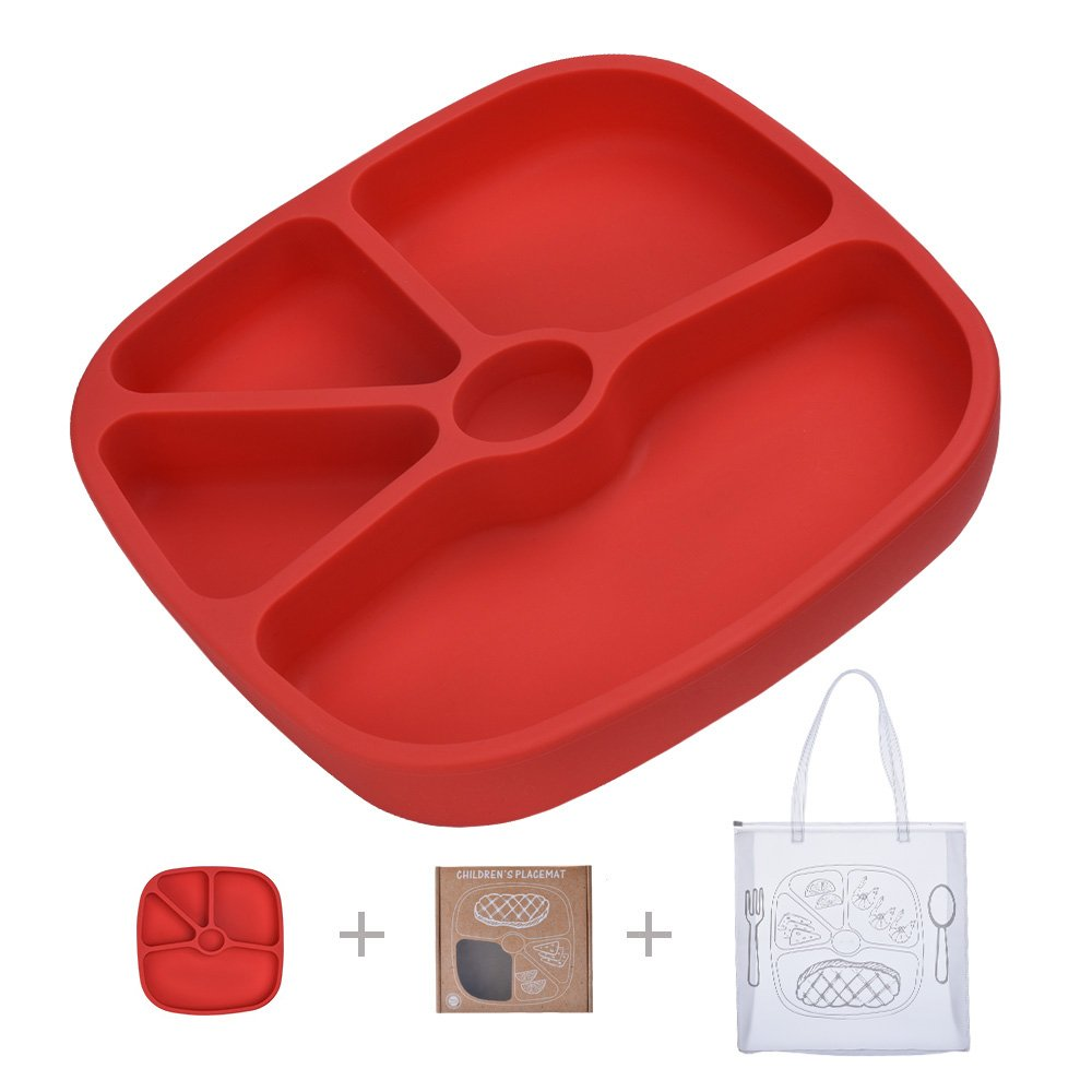 TOPQSC Silicone Baby Divided Suction Plate - Non-Skid Tray Portable Place Mat - for Infant Toddler Kid - Fits Most Highchair Table Home - with 1 Extra HQ Portable Bag - Red