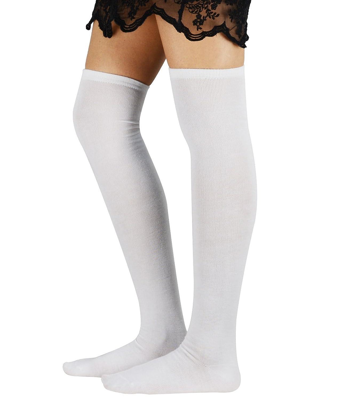 Zando Athlete Thin Stripes Thigh High Over Knee High Cosplay Socks for Women