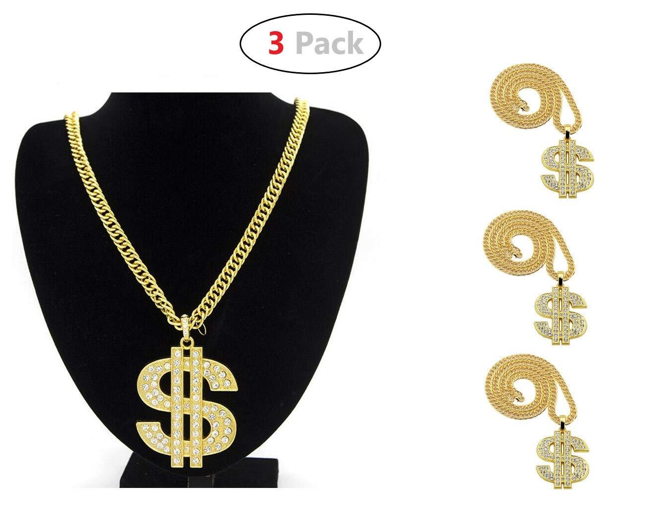 Yo-fobu 3 Pack Hip Hop Chain Necklace Rapper Gold Costume Necklace Jewelry Rapper Necklace for Club Rock Party, Long 27.5 inches, Wide 57mm by Yo-fobu