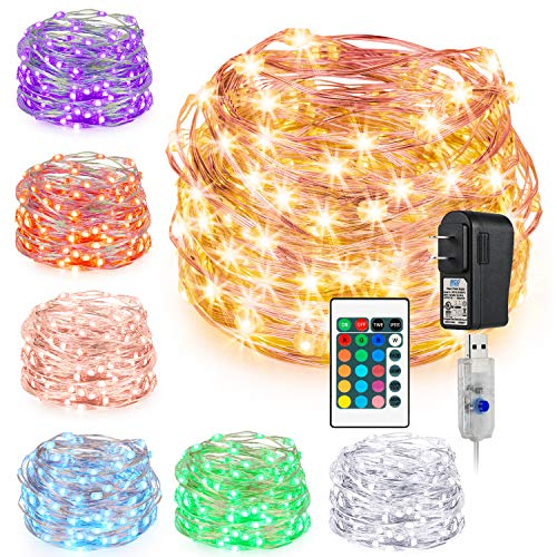 Kohree String Light Christmas Light LED Fair Copper Wire Light USB Power Plug Adapter 16 Colors 33 Feet 100 LEDs Long Ultra Thin String Copper Wire, Decor Rope Light with Timer Perfect for Christmas