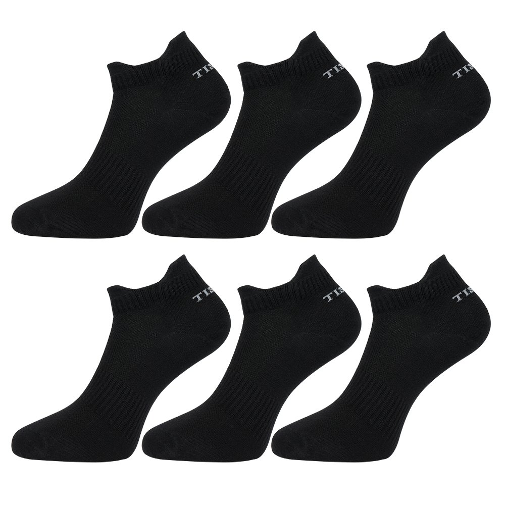 Tisoks 6 Pairs Black Mens and Womens Titanium Anti Odor Antifungal Sports Ankle Socks Antibacterial for Athletes Feet by Tisoks