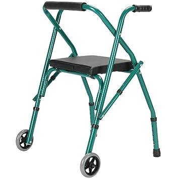Andador de acero inoxidable Walker plegable con ruedas (2 ruedas ...