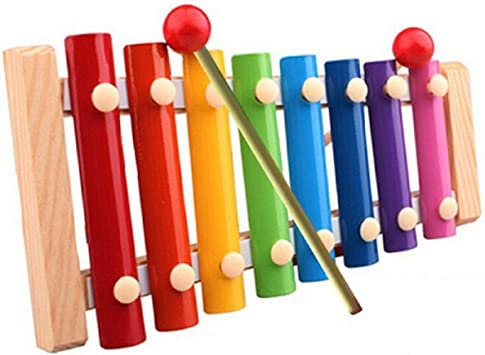 Obique Children's Wooden Toy Small Xylophone With Eight Metal keys and One Percussion Stick