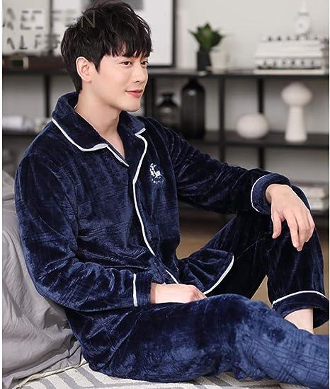 MHSHXY Pijama de Hombre Top de Manga Larga y Pantalones Otoño ...