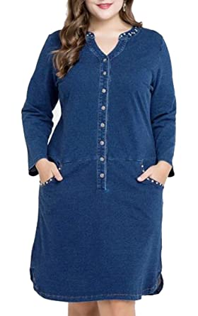 9a2f806da3 Image Unavailable. Image not available for. Color  YUELANDE-Women Sexy Plus  Size V Neck Long Sleeve Denim Party Bodycon Dress ...
