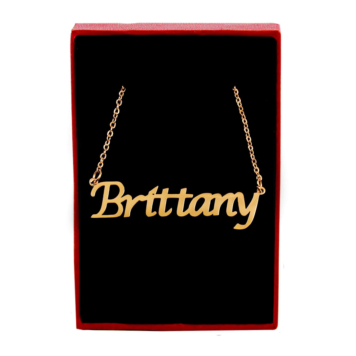 Zacria Brittany Custom Name Necklace Personalized 18ct Gold Plated