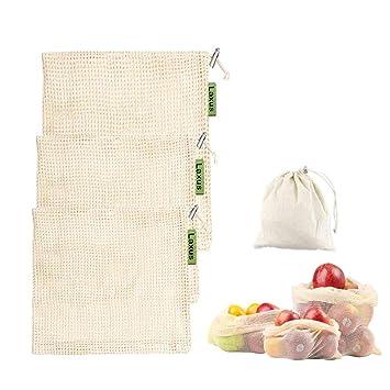 Laxus Bolsas de Vegetales Reutilizables de algodón, Bolsas de Frutas y Verduras Bolsas de la Compra con Bolsa de Pan de algodón, sin plástico, ...