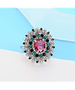 Aleola Fashion Trend Small Daisy Flower Diamond Red Zircon Ladies Ring Jewelry (SL10)
