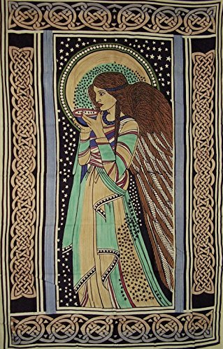 - India Arts Peace Angel Celtic Tapestry Cotton Bedspread 108