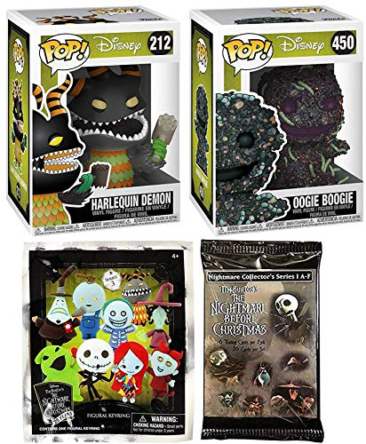 - Creature Demon NBX Scary Figure Nightmare Before Christmas Pop! Vinyl Oogie Boogie Bundled with 3D Figure Keychain Character Backpack Hanger Blind Bag & Trading Cards Dead Pack collectible set 4 items