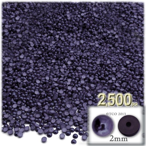 The Crafts Outlet 2500-Piece Pearl Finish Half Dome Round Beads, 2mm, Blueberry (2mm Half Round Dome)