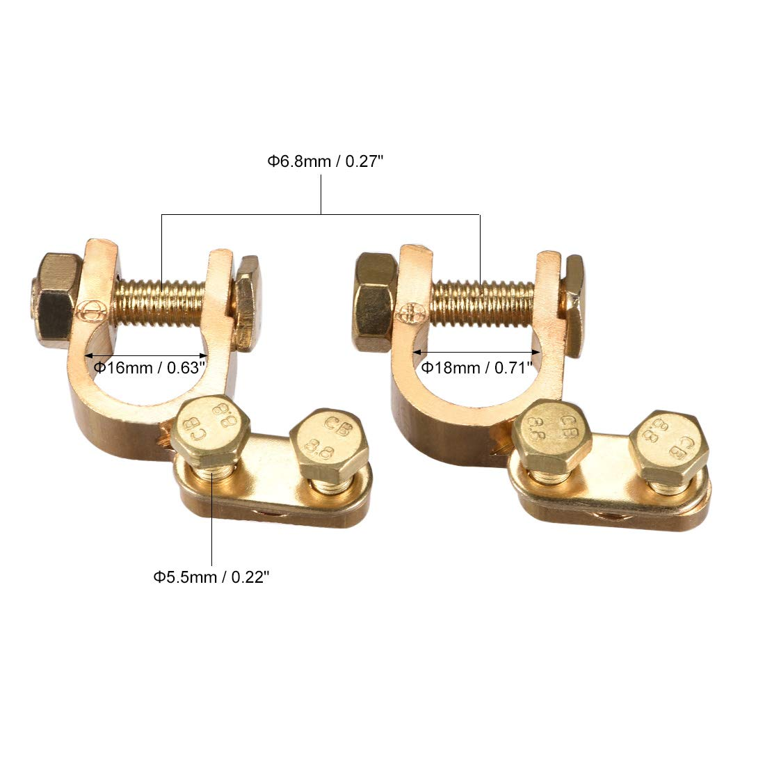 uxcell Car Battery Top Post Terminal Clamps Positive Negative Set Copper 1 Pair