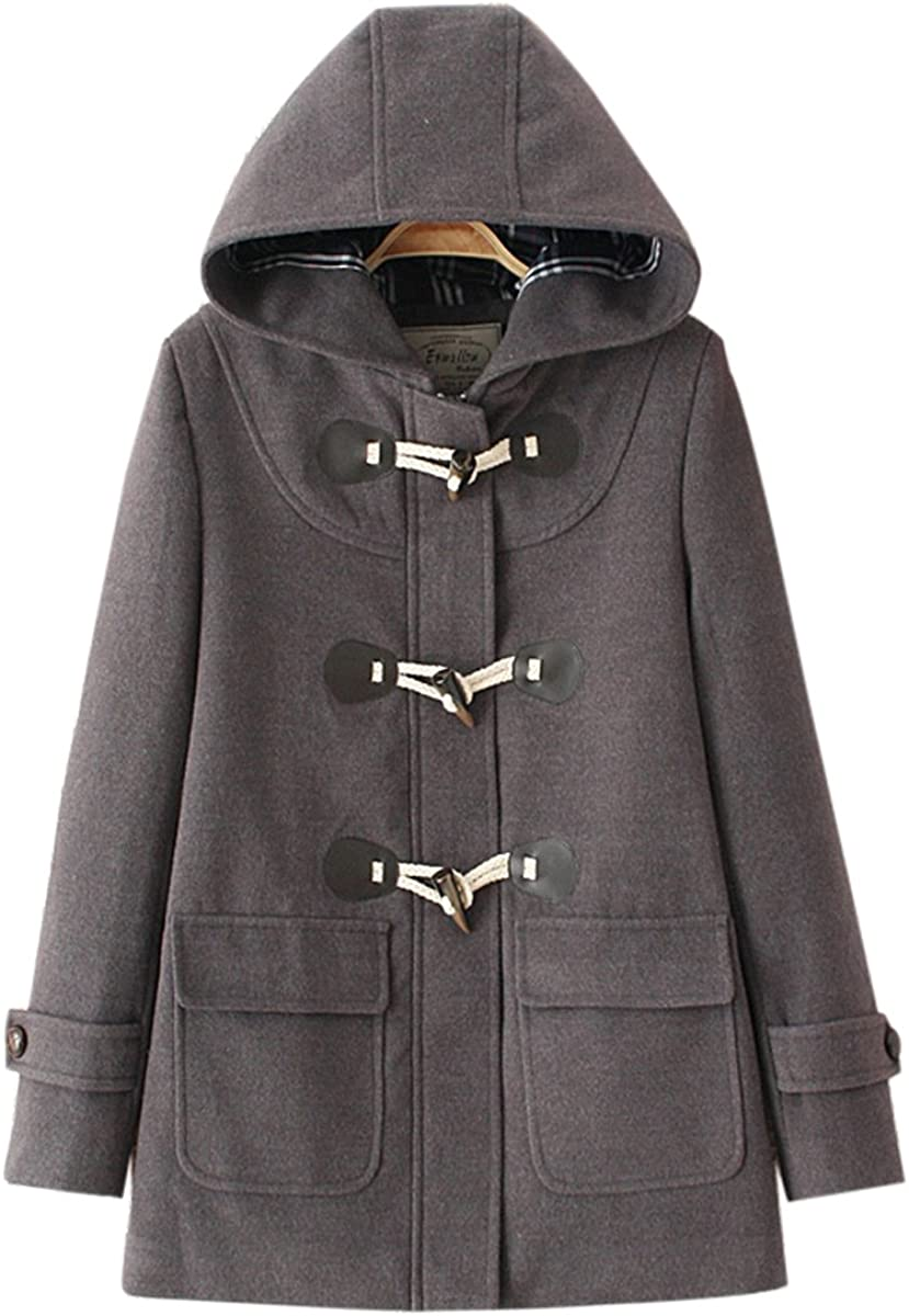 Gihuo Womens Toggle Closure Hooded Duffle Woolen Trench Coat
