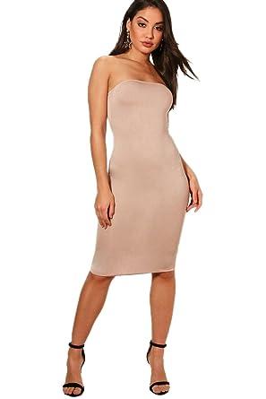 ac900d3d3a32 Sand Damen Maya Bandeau Curved Hem Bodycon Dress - 16: Amazon.de ...