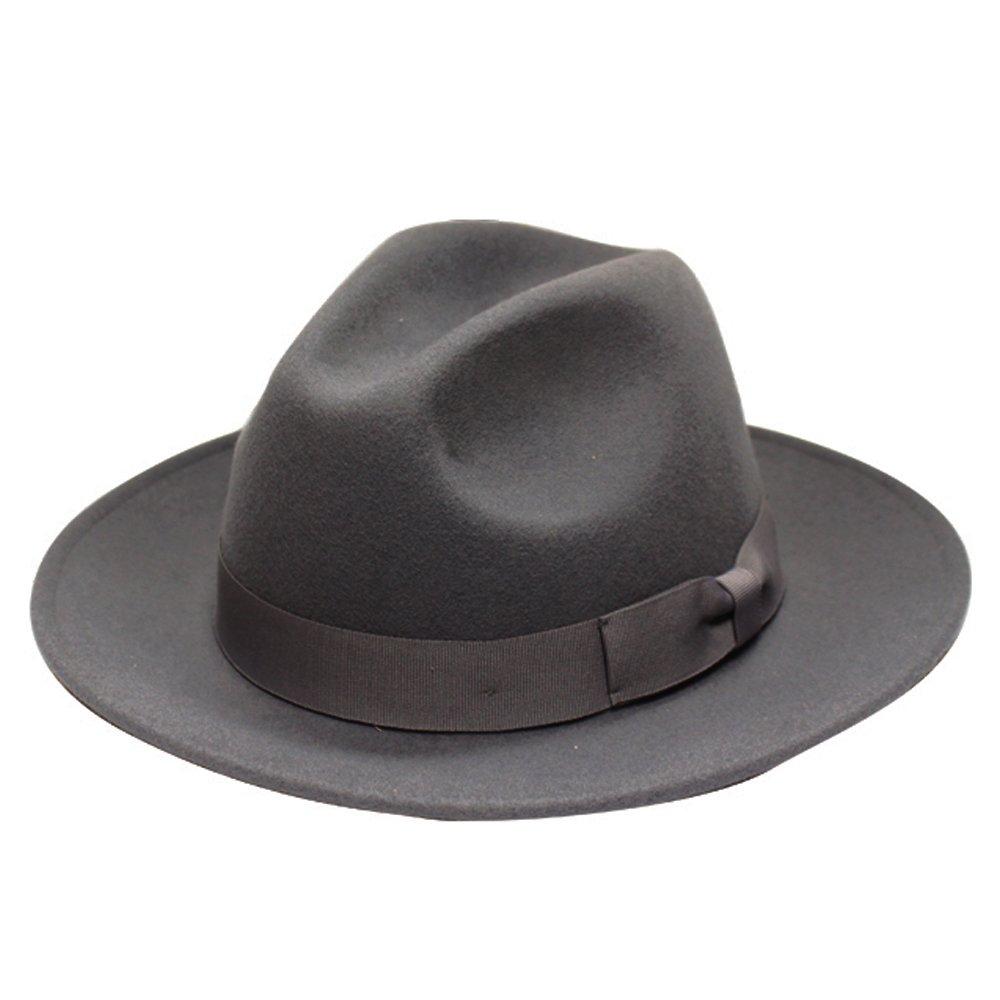 City Hunter Pmw91 Wide Brim Wool Felt Fedora Hat 3 Colors