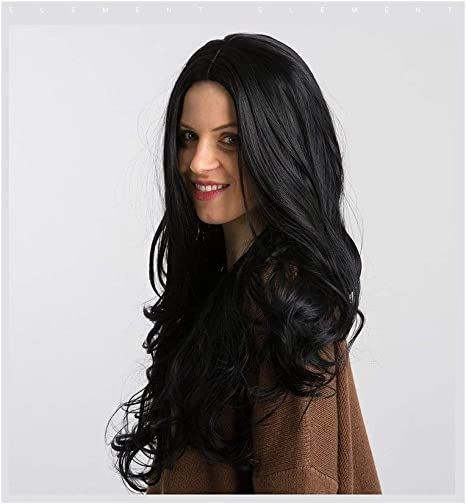 Ta-weo Peluca Negra Larga y rizada 26 Pulgadas Peluca sintética a Prueba de Calor del Pelo for Las Mujeres Pre Plucked Hairline Pelucas de Alta Densidad (Color : Black, Stretched Length :