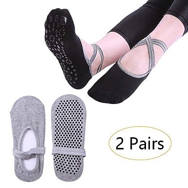 KINDOYO Mujer Calcetines Yoga - Antideslizantes para Barra ...