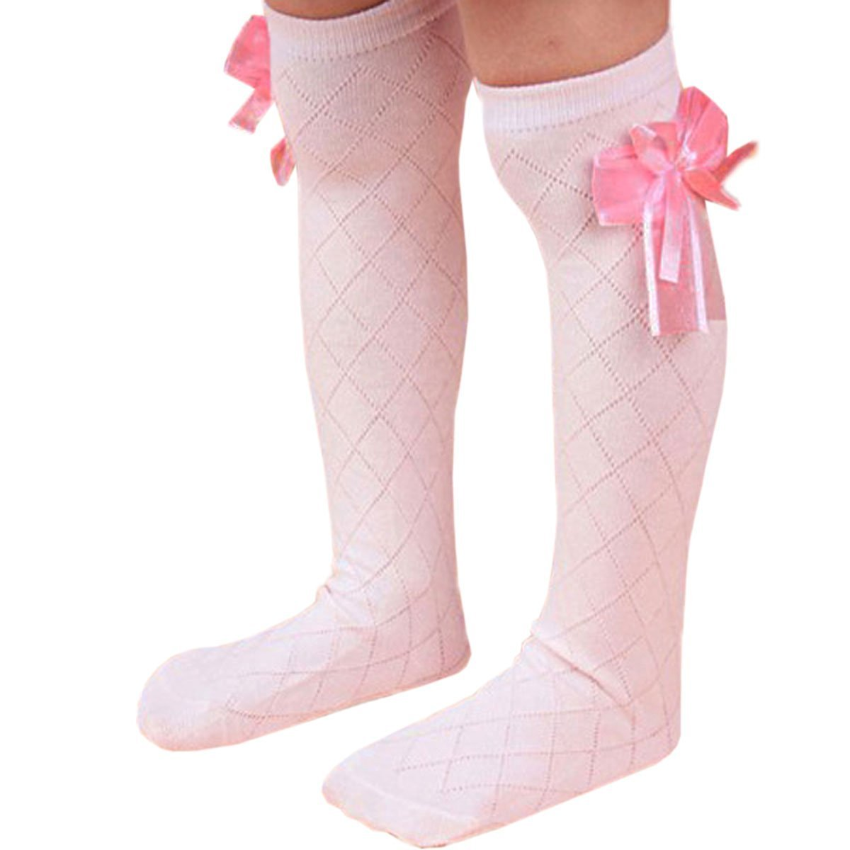 Bluelans® Childrens Girls Lovely Bow White Knee High School Socks Stockings NA