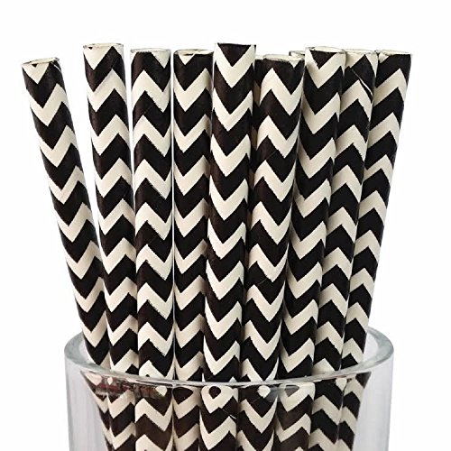 Black/White Chevron Set of 100 Count Size 7 3/4 inch Black Chevron Design Paper Drinking Straw Baking Sticks Cake Pop Sticks For Cake Pops Lollipops Crafts Cupcake Toppers Rock Candy and Brownie Pops