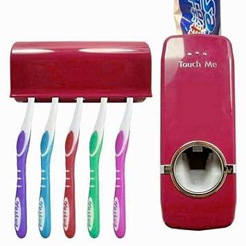 Distribuidor dispensador Pasta de dientes automático y porta cepillos rojo vinaccia611864475905: Amazon.es: Electrónica