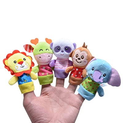 XIANG 5 Pics Different Cartoon Velvet Small Animals Recognize Finger Toys Finger Puppets for Infants Baby Kids Anxiety Stress Relief Gift for Kids: Home & Kitchen