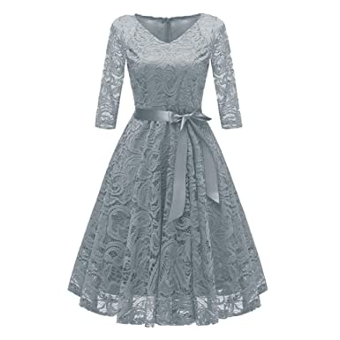 de9d41aa828cb Todaies Women Lace Dress Women Vintage Princess Dress Floral Cocktail V-Neck  Party Aline Swing Dress at Amazon Women's Clothing store:
