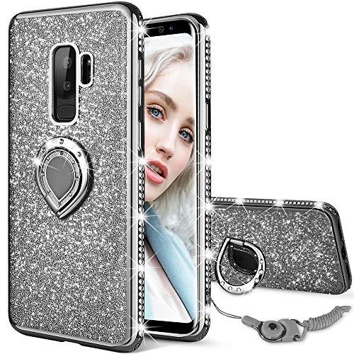 Maxdara Galaxy S9 Plus Case, Galaxy S9 Plus Glitter Case Sparkle Shiny Bling Diamond Rhinestone Bumper Girls Women Case Ring Holder Grip Stand Case Cover for Samsung Galaxy S9 Plus 6.2 inch (Black)