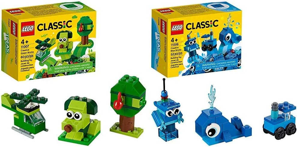 LEGO Classic Creative Green Bricks 11007 Starter Set Building Kit & Creative Blue Bricks 11006 Kids' Building Toy Starter Set