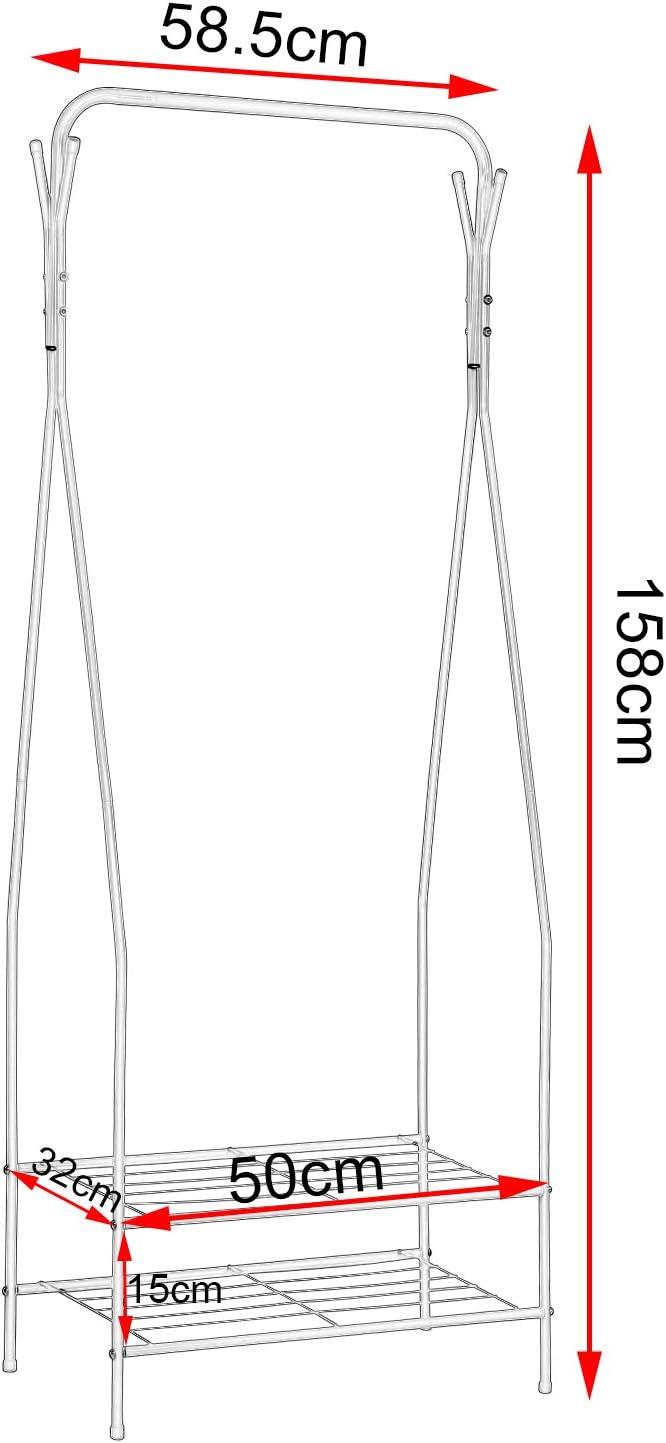 WOLTU SR0080 Stand Appendiabiti a Terra Attaccapanni Portabiti con Scaffale a 4 Ripiani in Acciaio Bianco