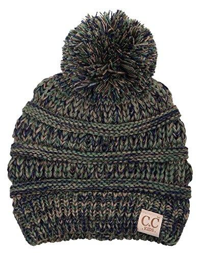- H-6847-816k.22 Girls Winter Hat Warm Knit Slouchy Kids Pom Beanie - Green/Olive #9