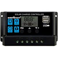 amiciSmart Solar Charger Controller 10A/20A/30A Solar Panel Battery Intelligent Regulator LCD Display with USB Port 12V/24V
