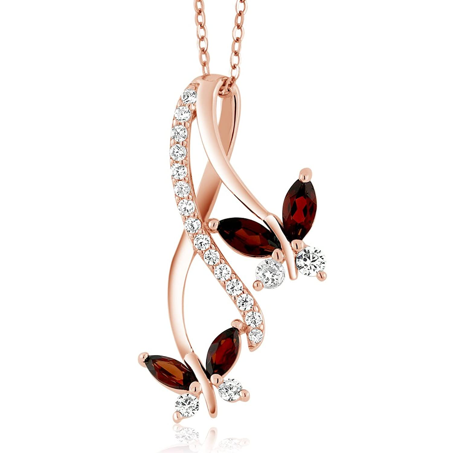 18K Rose Gold Plated Silver Marquise Natural Red Garnet Butterfly Infinity Pendant Necklace with 18 inch Chain (1.21 cttw)