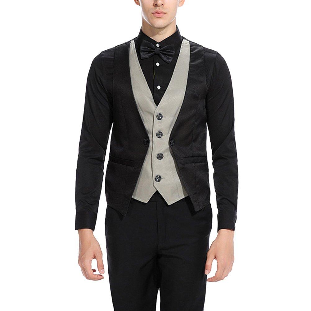 Zhhlinyuan Mens Contrast Color Wedding Office Meeting Suit Blazer Waistcoat Vest