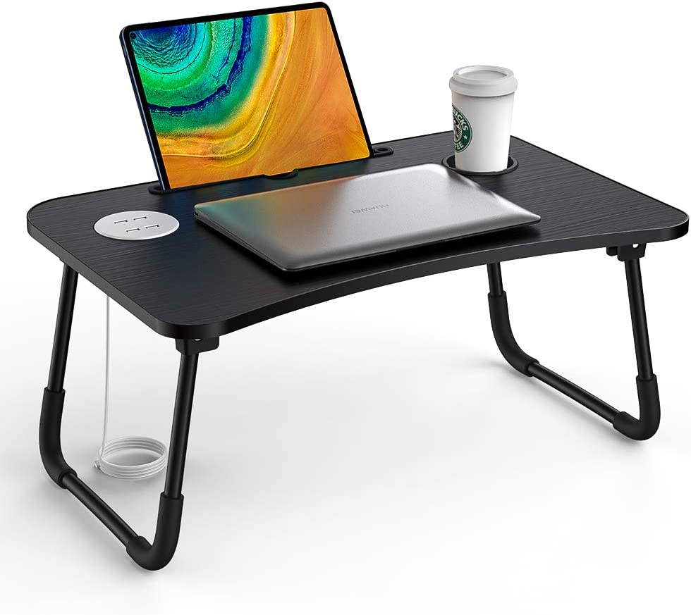 Elekin Folding Standing Laptop Desk Multi-Function Laptop Bed Table Stand Lap Desk with USB/Cup Holder for Bed Couch Sofa with Little Gift(Small Table Lamp,Small Fan)
